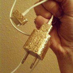 DIY mod podge glittered charger.