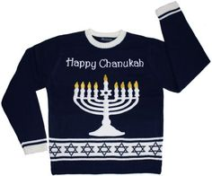 A Hanukkah sweater with LED lights--yes, it lights up.