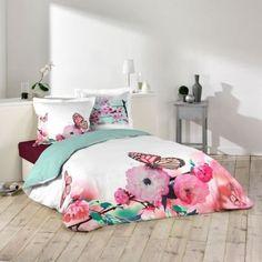 36,90€ Housse de couette 220X240cm Douceur Papillon #papillon #été #coton #pascher #bonplan