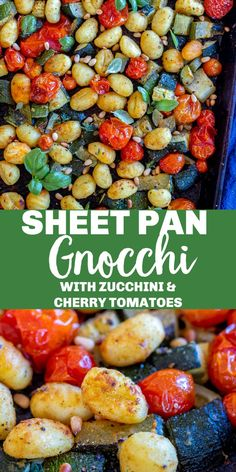 Sheet Pan Gnocchi with Zucchini and Cherry Tomatoes is a super quick and easy vegan dinner that highlights summer veggies! All you do is toss together everything on a sheet pan, roast it in the oven and you have a delicious and easy weeknight dinner ready in just over 30 minutes. #gnocchi #sheetpandinner #vegan #sheetpangnocchi #easydinner Baked Gnocchi, Gnocchi Recipes, Cherry Tomato Plant, Cherry Tomatoes, Easy Weeknight Dinners, Vegan Dinners, Gluten Free Gnocchi, Great Roasts, Zucchini Tomato