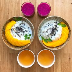 Wednesday: Mango Sticky Rice, Khao Niaow Ma Muang ข้าวเหนียวมะม่วง glutinous rice, steamed and then cooked with coconut milk and sugar, topped with a slightly salted coconut milk and freshly sliced Thai mango  a purple dragonfruit, orange and passionfruit smoothie (I can't get enough of the colour!)