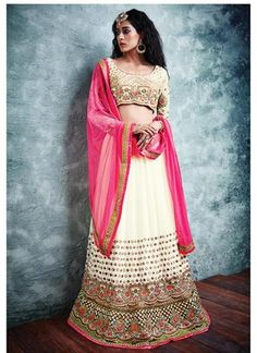 Off White Georgette Net A Line Lehenga Choli Online ,Indian Dresses