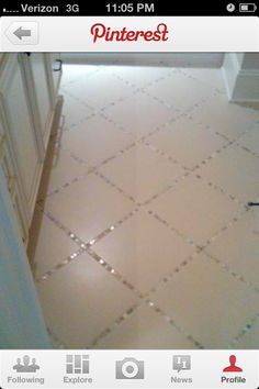 Ceramic tile w/ backsplash tile instead of Just grout....don't know where but like the look. firplace wall maybe?