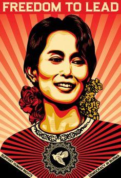In honor of Nobel Prize award winner Aung San Suu Kyi. From Shepard Fairey. #nobel #nobelprize #burma