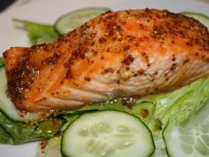 Mustard Roasted Salmon from FoodNetwork.com  Salmon is my new must have meal on a weekly basis!  So healthy and delicious!
