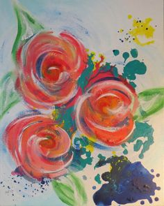 Abstract Floral Acrylic Painting by TheArtGypsyStudio on Etsy