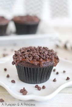 Triple Chocolate Cupcakes with ganache frosting recipe