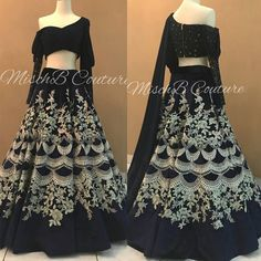 Spice up your look this with this black lehenga choli for Rs For other DM or Whatspap @ 9054562754 Choli Designs, Lehenga Designs, Blouse Designs, Black Saree Blouse, Black Lehenga, Gold Lehenga, Indian Lehenga, Banquet Dresses, Party Wear Dresses