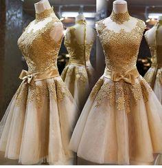 XFQH8 Rendas de Ouro na altura do joelho Plus Size Custom Made Vestidos de Dama de honra Vestido de Festa Vestido de 2016 Vestido De Festa Madrinha
