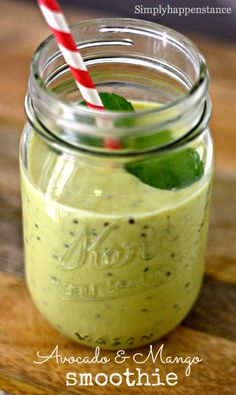 Avocado and Mango Smoothie #energizing #healthy and #yummy.  http://www.simplyhappenstance.com/avocado-and-mango-smoothie/