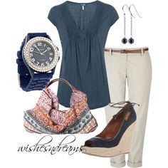 casual capris, created by wishesndreams on Polyvore