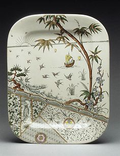 Platter, Gildea and Walker ca. 1881 - British (with owl on branch and a night sky)