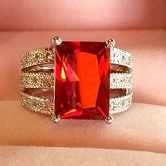 Jewelry - 925 Stamped Red Cubic Zirconia Statement Ring