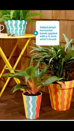 Colorful painted planters with FrogTapes Shape Tape