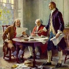 This is a picture about Thomas Jefferson, John Adams, and Ben Franklin working on the Declaration of Independence. Thomas Jefferson was the principal author of the Declaration of Independence, he was devote in it very hard. Thomas Jefferson, American Presidents, American War, American History, Early American, American Life, British History, John Adams, Samuel Adams