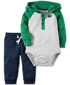 Carter's Baby Boys' 2-Pc. Long-Sleeve Hooded Bodysuit & Pull-On Pants Set
