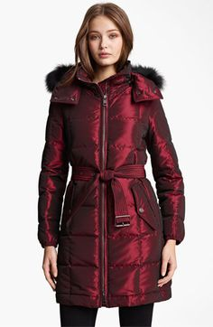 Oh, I love this color. Burberry Brit Quilted Genuine Fox Fur Trim Down Jacket | Nordstrom