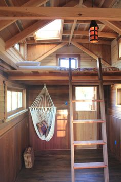 Loft and hammock | 185 sq ft home built by Ryan O'Donnell