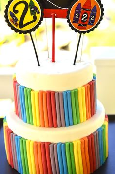 rainbow crayon party  {Love the Day}   I think this would be great for a 3 yr old party.