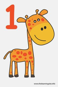 Number One Flashcard – 1 Giraffe 4 Year Old Activities, Preschool Art Projects, Kindergarten Math Activities, Preschool Worksheets, Infant Activities, Preschool Activities, Numbers Preschool, Learning Numbers, Picture Story For Kids