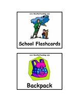 School Flash Cards - School Flash Cards Include: Backpack, Book, Bus, Calculator, Chair, Chalk, Clock, Colored Pencils, Computer, Crayons, Desk, Electric Sharpener, Eraser, Globe, Lunch Box, Marker, Notepad, Paper Clip, Pencil Sharpener, Protractor, School, Stapler, Student, Tape, Teacher, Television, Thumb Tack, Trash Can.