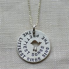 The littlest birds sing the prettiest songs. A necklace for mamas.