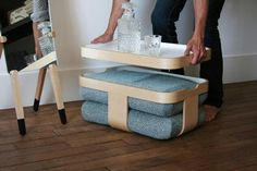 """Awesome multi-functional furniture by french design studio Oxyo. *Maybe a lightweight """"turnover"""" design?"""