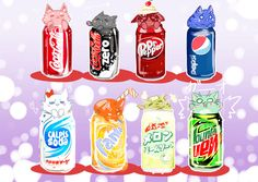 Kawaii Kitty Sodas~ Too cute~ Cute Food Drawings, Cute Kawaii Drawings, Cute Animal Drawings, Art Kawaii, Kawaii Cat, Kawai Japan, Cute Food Art, Japon Illustration, Dibujos Cute