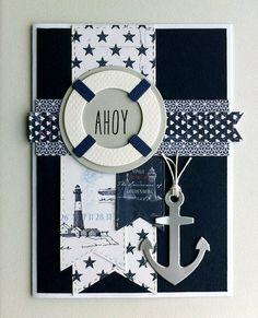 Card nautical marine sailor anchor sea ocean - kort med anchor og redningskrans - maritim - nautisk -