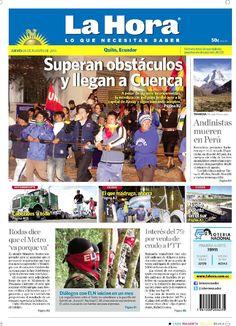 """Acá nuestra portada de hoy, 6 de agosto del 2015. Tema destacado """" Superan obstáculos y llegan a Cuenca""""."""
