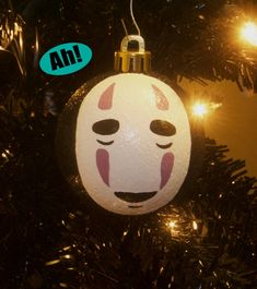 Spirited Away Inspired No Face Miyazaki Studio Ghibli Anime Shatterproof Hand-Painted Christmas Ornament! Name/Year add on Available!