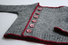 hand knit grey cardigan with red trim