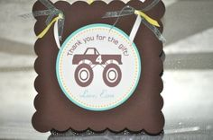 Monster Truck Birthday Party Napkin Wraps Tags - PRINTABLE - By A Blissful Nest. $7.00, via Etsy.