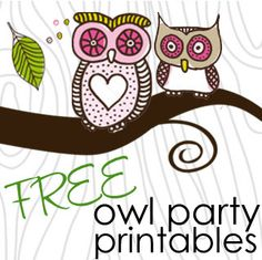 Pink and Green Girlie Owl Party Free printables
