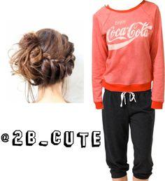 looooove the coca-cola sweatshirt and loving the sweatpants look really comfy, the hairstyle is soo pretty