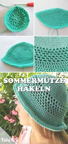 Crochet summer hat - free instructions for a breezy beanie - häkeln - Baby Knits Baby Knitting Patterns, Free Knitting, Crochet Patterns, Knitting Socks, Sombrero A Crochet, Crochet Summer Hats, Knit Crochet, Crochet Hats, Bag Pattern Free