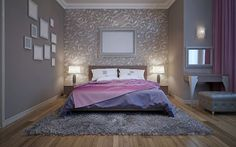 The room we have here is luxurious but is also brought to life with the little spice that is the pink throw over the bed. The framed mirrors and the pictures on the left side of the photo add a lovely personal touch to this bedroom and make it look all the more attainable in the process.