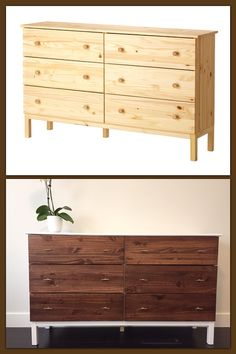 IKEA Tarva hack! Desire inspired by the West Elm reclaimed + lacquered dresser (http://www.westelm.com/m/products/emmerson-reclaimed-lacquer-6-drawer-dresser-h1116/) and reality enabled by this awesome tutorial http://thirdfloordesignstudio.blogspot.com/2014/04/ikea-tarva-hack-i-need-your-help.html?m=1