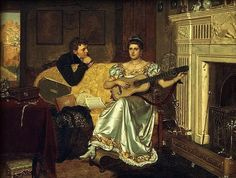 Edmund Blair Leighton (English Pre-Raphaelite and Romantic painter) 1852 - 1922, Say, What shall be the Burden of my Song?, 1881, oil on panel, 23 x 18 cm. (9.1 x 7.1 in.), s.l.