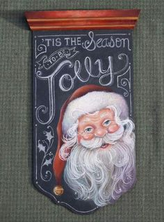Does anyone know where I can find the pattern for this project or the Santa? I absolutely love it and I want to paint it desperately! - Crafts Diy Home Merry Christmas, Christmas Love, Christmas Signs, Christmas Pictures, Christmas Projects, Winter Christmas, Holiday Crafts, Vintage Christmas, Christmas Ornaments