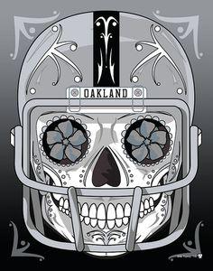 Hey, I found this really awesome Etsy listing at https://www.etsy.com/listing/217002446/oakland-raiders-sugar-skull-11x14-print