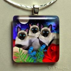 SIAMESE CATS MOON garden glass tile pendant free by evadesigns