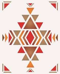 The Large Navajo Firecreek Theme Pack Stencil Contains Three Striking And Adaptable Motifs On One Sheet  A Large Chevron Border Two Corner Flecks The