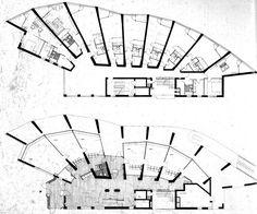 Alvar Aalto: Neue Vahr Block of Flats, Bremen, Germany. Alvar Aalto, Architecture Drawings, Architecture Plan, Architecture Graphics, Hotel Floor Plan, Apartment Plans, Building Plans, Floor Plans, How To Plan