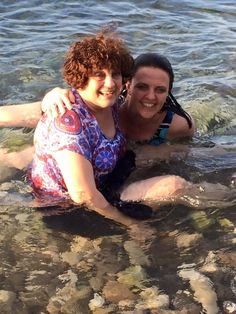 Carolyn (aka Grammy) and her daughter, Dr. Carmen, enjoy a dip in the ocean at the missionary compound.