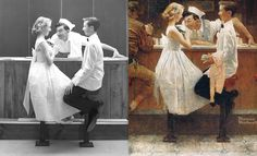 Norman Rockwell reference photos alongside finished works