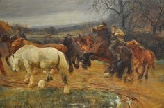 Gipsy horse drovers - an 1894 oil on canvas painting by Lucy Kemp-Welch