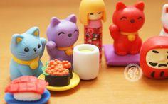 Gommes kawaii Iwako / Iwako eraser , Kokeshi, Maneki Neko, Daruma et sushi ! - www.chezfee.com Boutique kawaii français