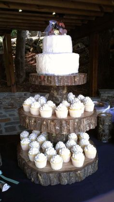 Rustic Wedding Cake & Cupcakes / http://www.himisspuff.com/rustic-wedding-ideas-with-tree-stump/7/