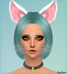 Jenni Sims: Kitty Set Accessory Whiskers,Necklace Choker, Ears • Sims 4 Downloads